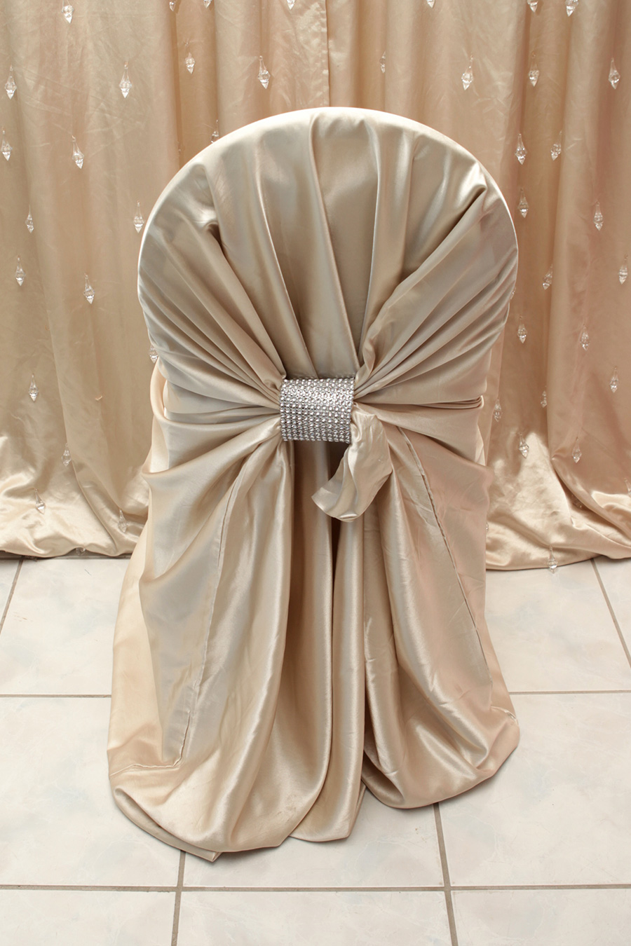 Champagne Satin Chair Cover
