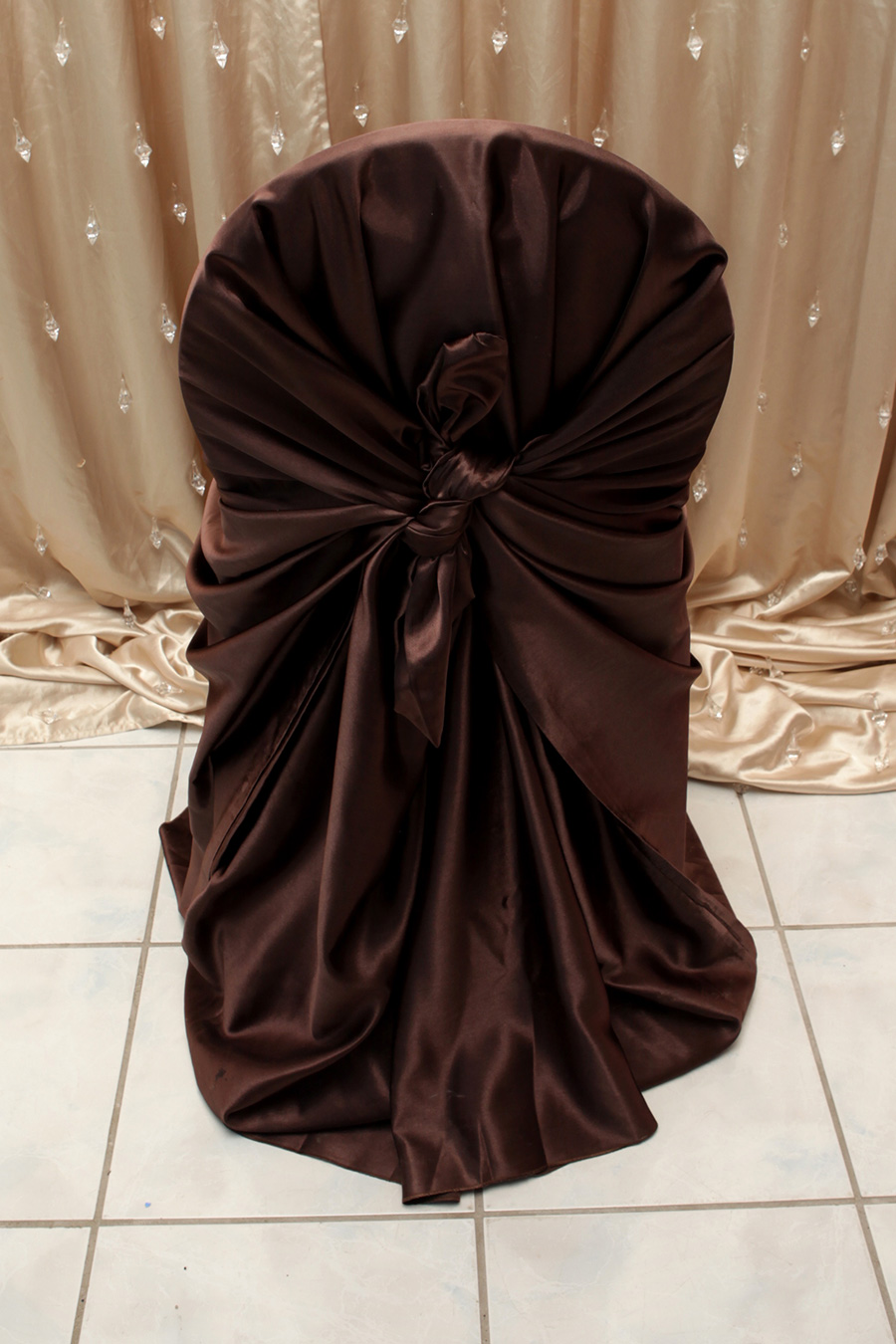 Chocolate Brown Satin Chair Cover
