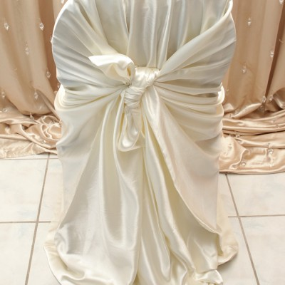 Ivory Satin Chair Cover