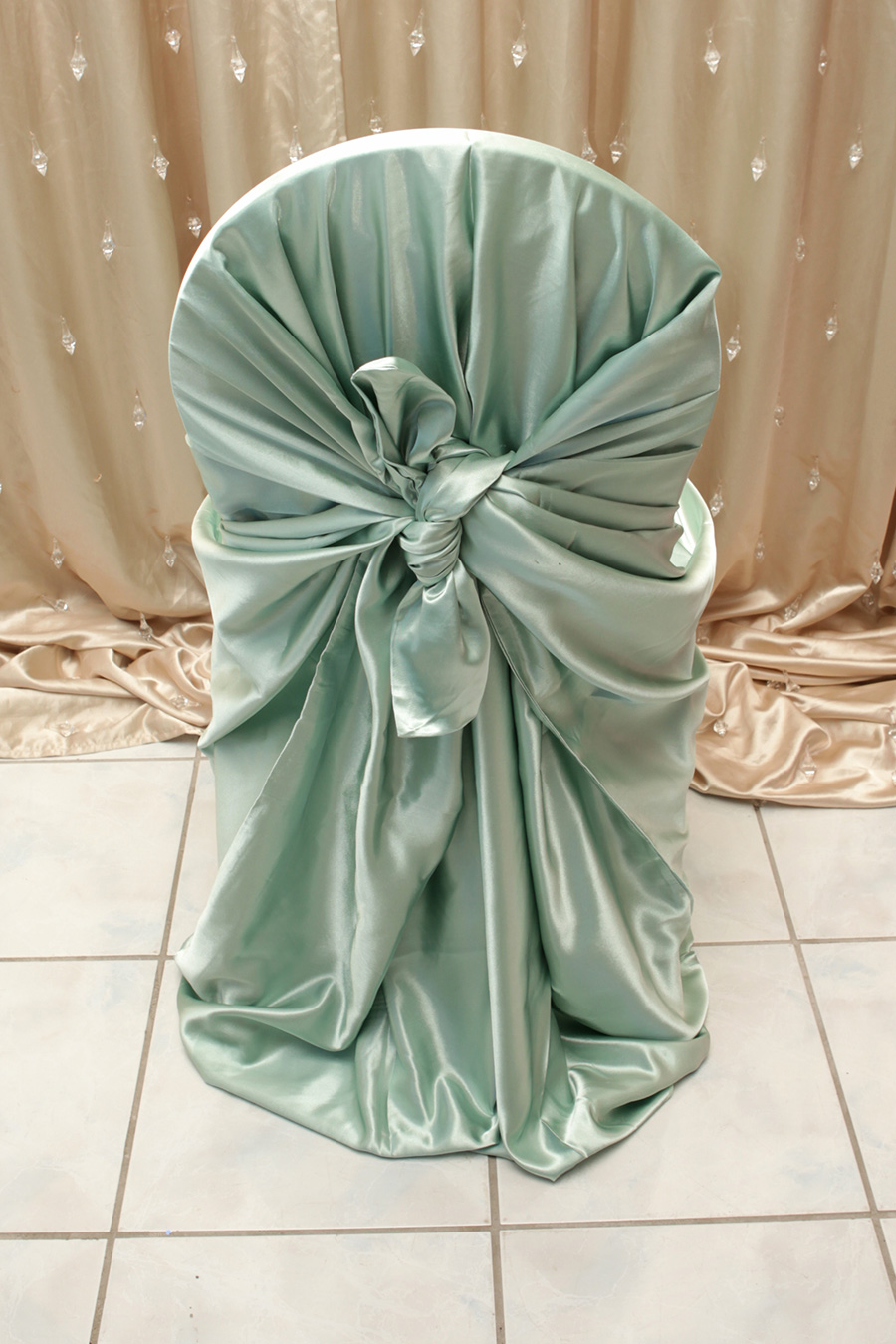 Sage Green Satin Chair Cover