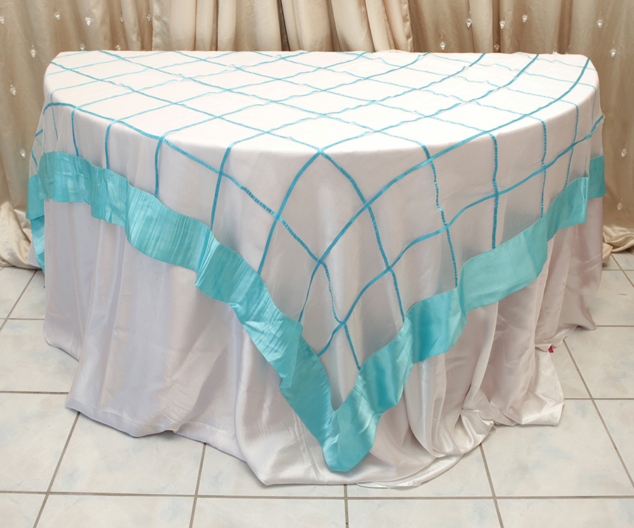 Ashely Style Overlay Table Cover Tiffany Blue