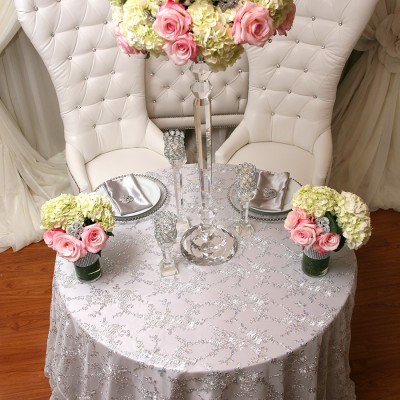 Lace with Silver Sequins Table Cover