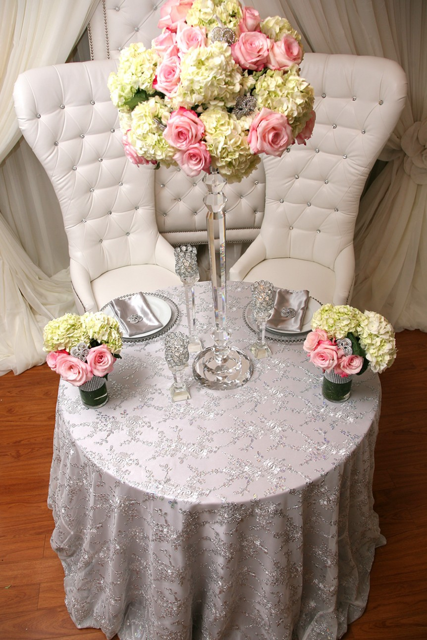 Lace With Silver Sequins Table Cover Right Choice Linen