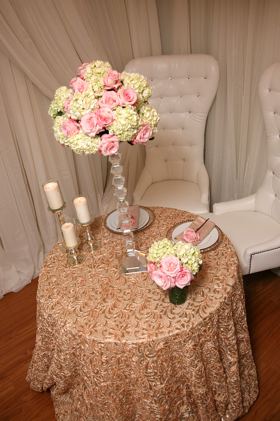 Rosette Overlay Table Cover Champagne Silver Sequins