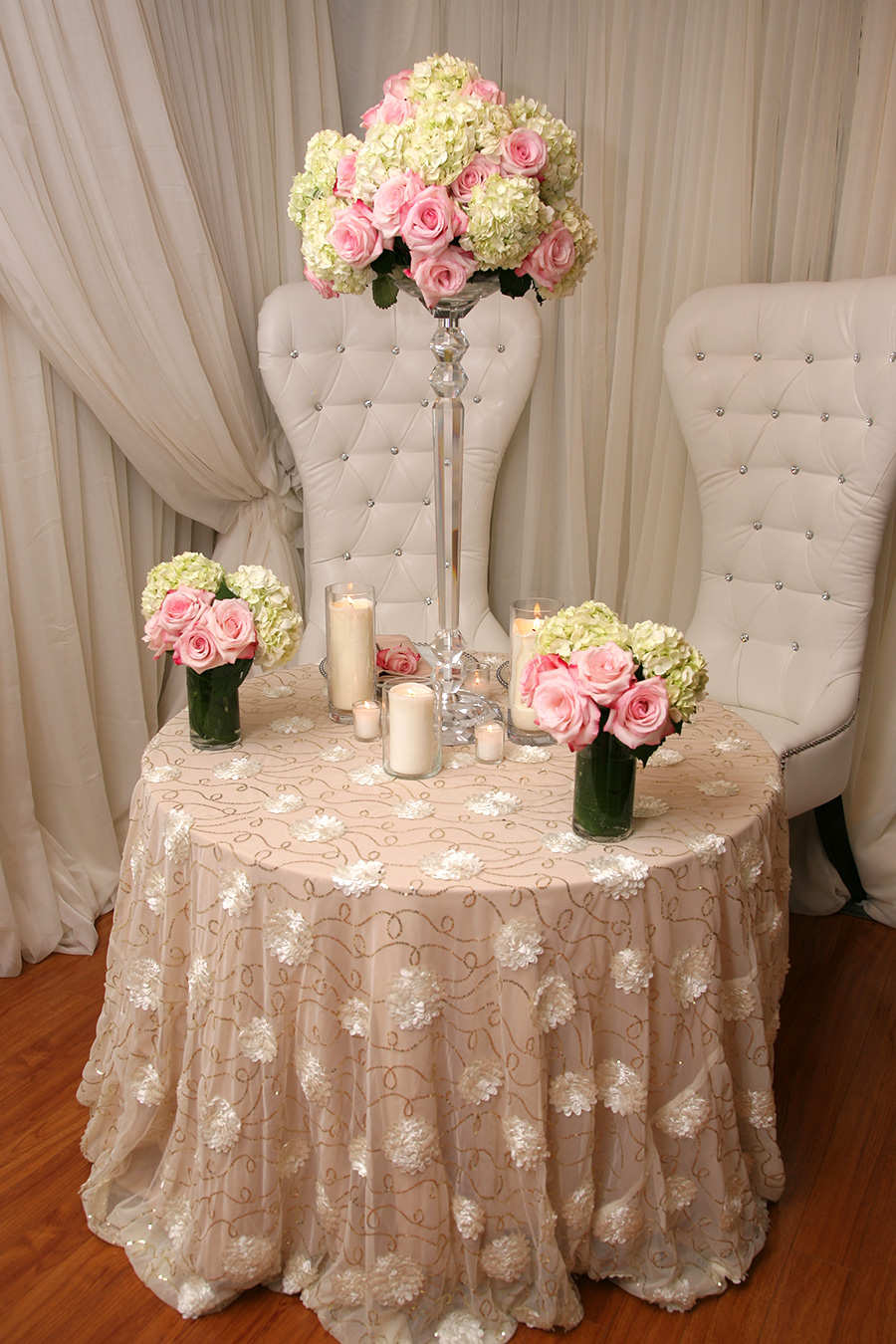 Rosette Overlay Table Cover Ivory Gold Sequins