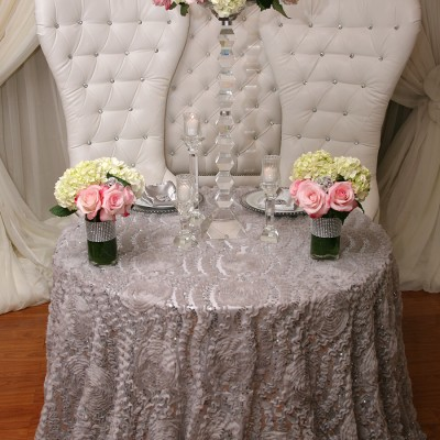 Rosette Overlay Table Cover Rose Silver Sequins