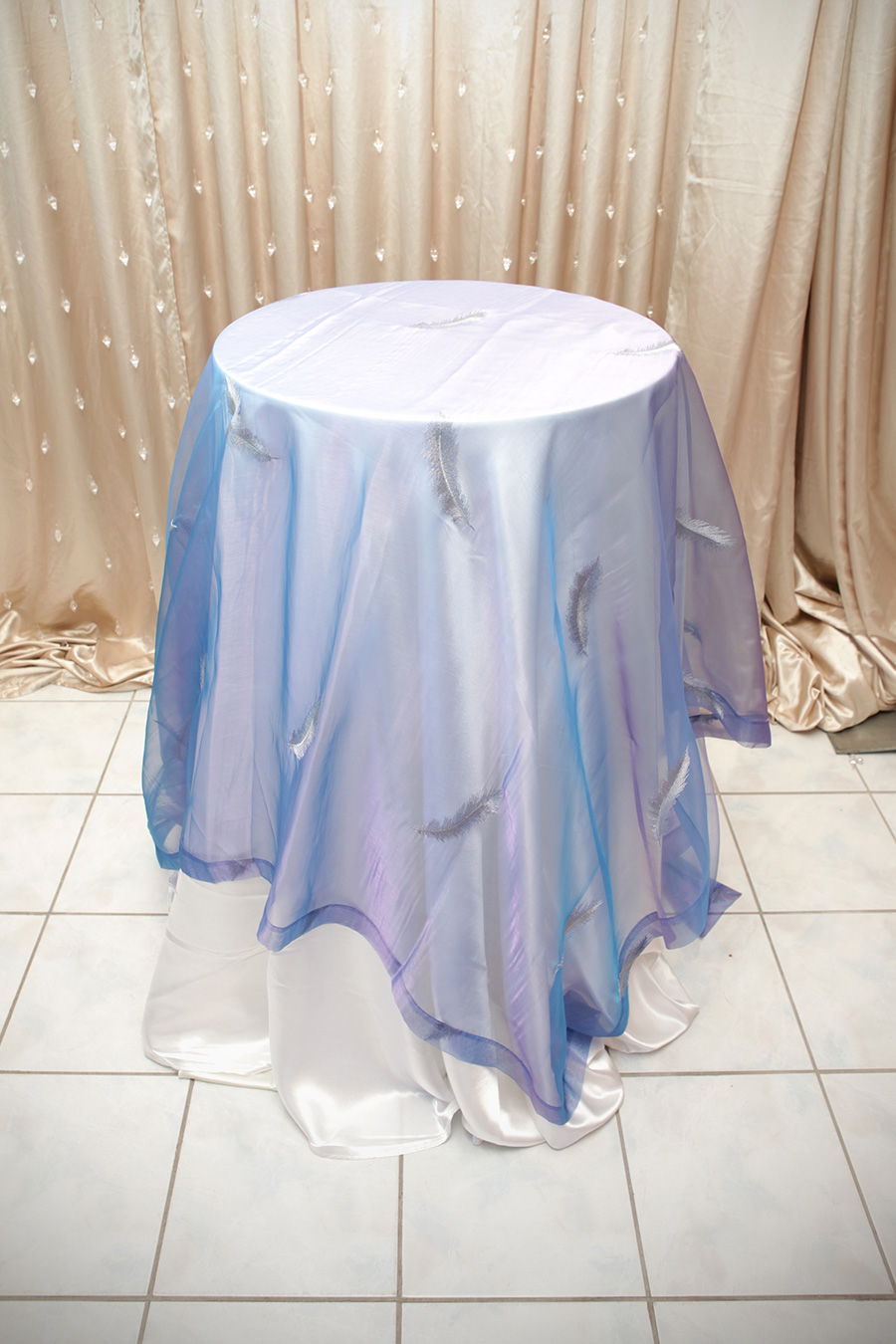 Sheer Overlay Table Cover Blue With Silver Feather