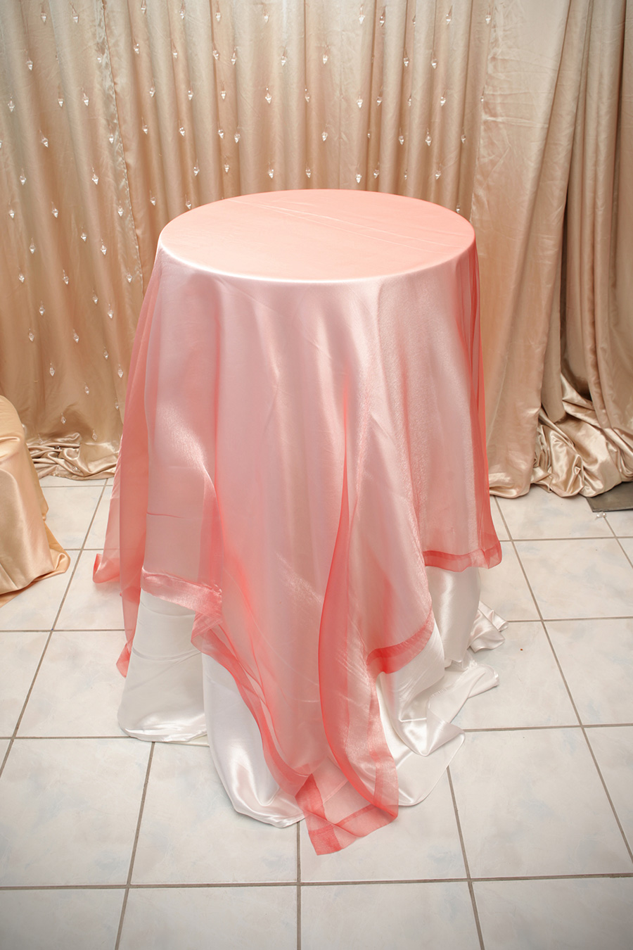 Sheer Overlay Table Cover Blush