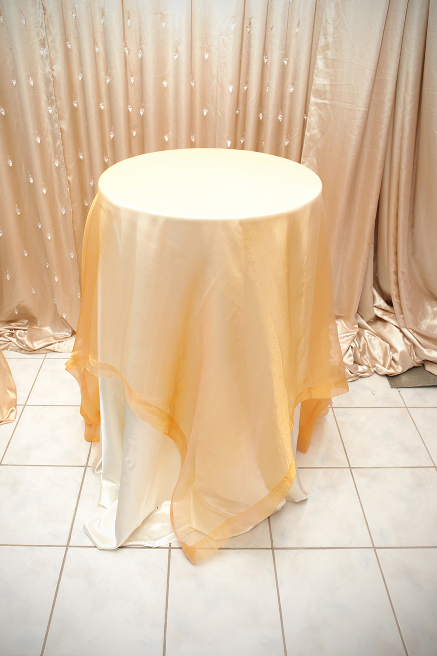 Sheer Overlay Table Cover Gold