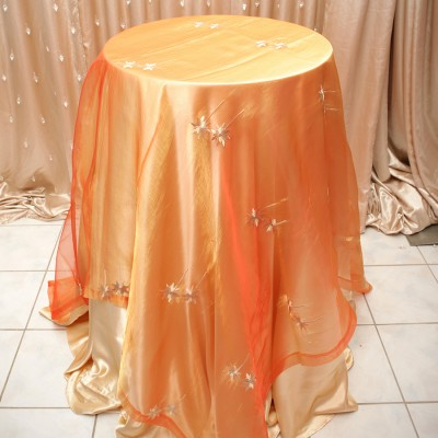 Sheer Overlay Table Cover Orange