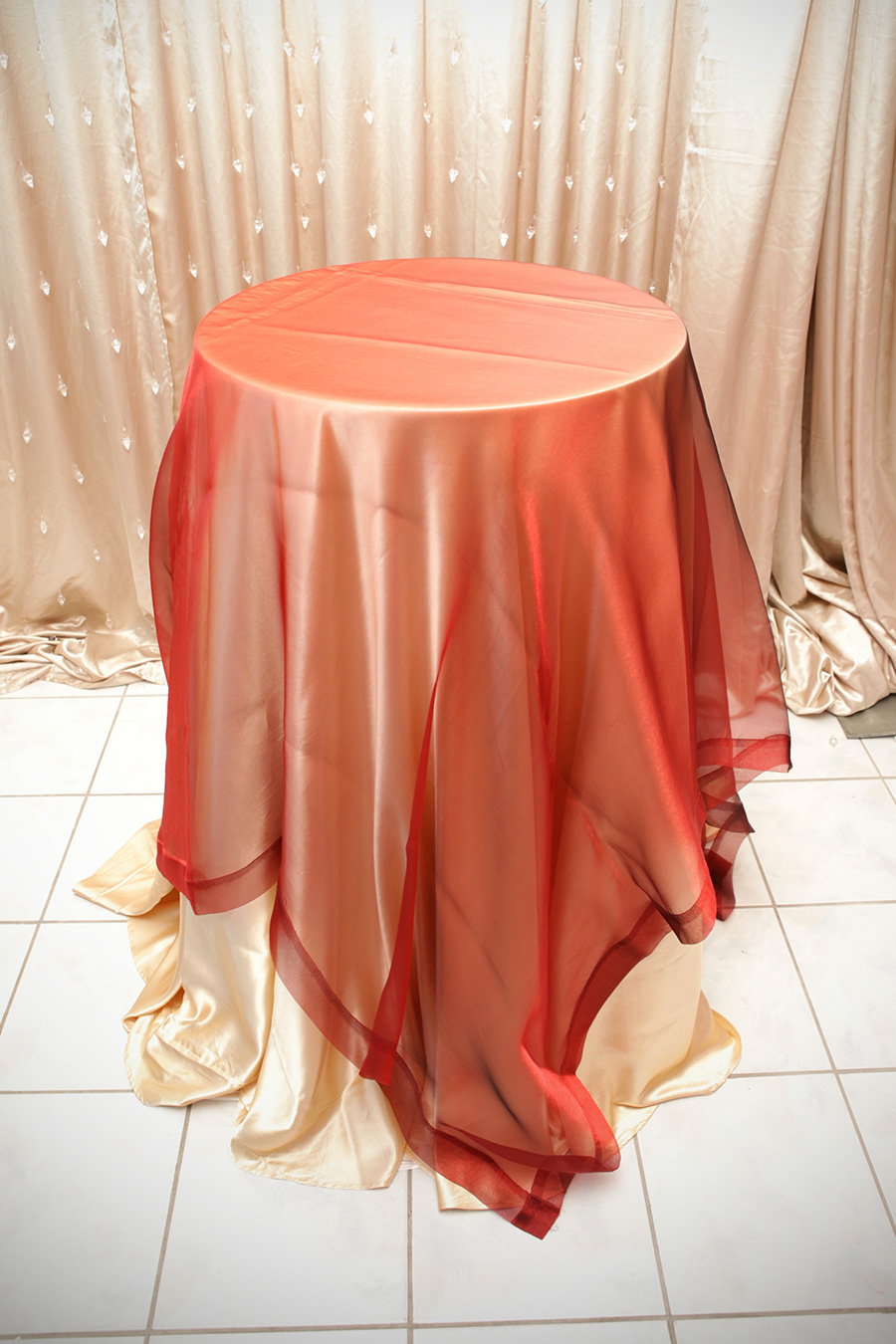 Sheer Overlay Table Cover Red