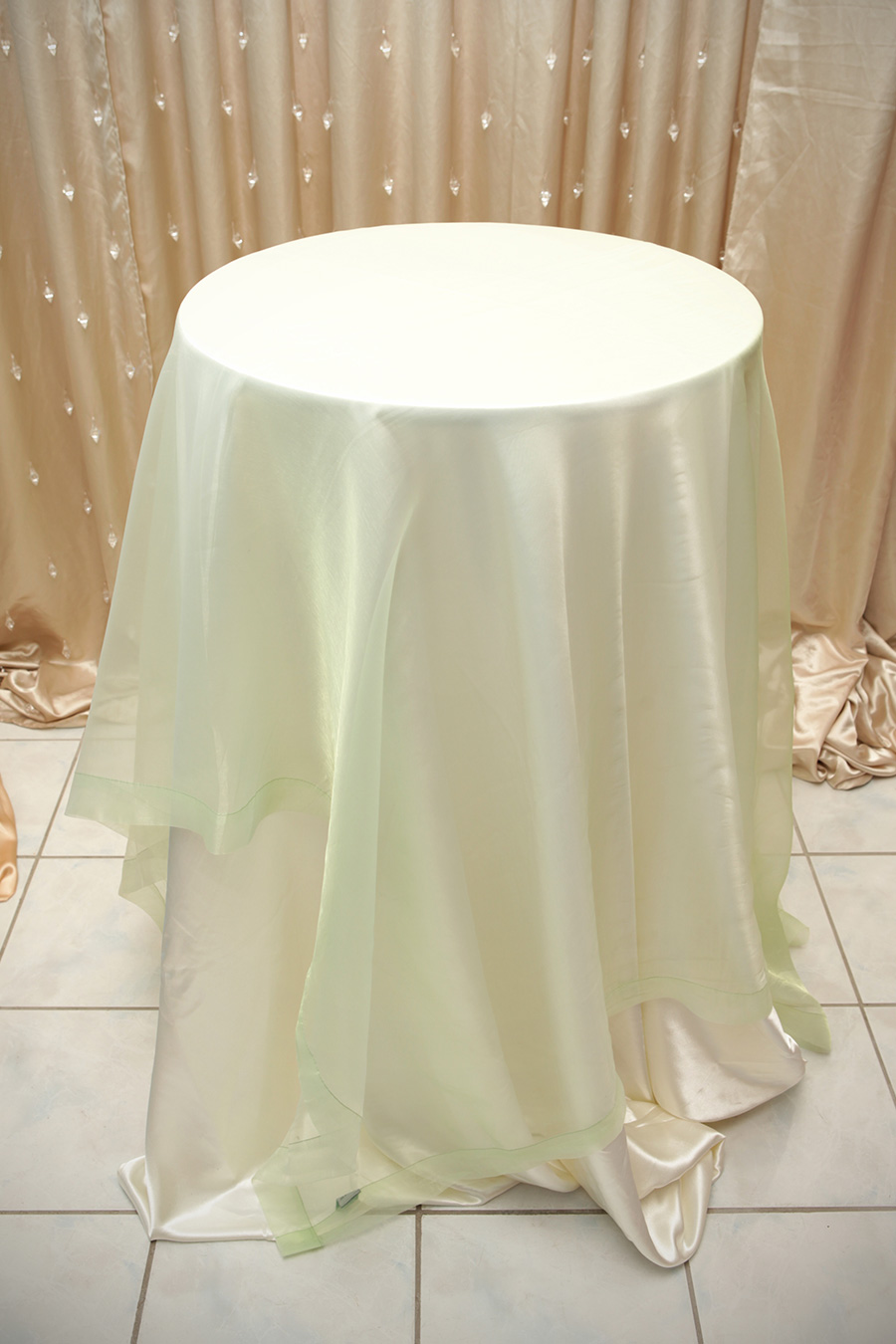 Sheer Overlay Table Cover Sage Green