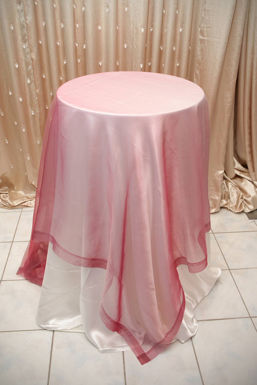 Sheer Overlay Table Cover Wild Raspberry
