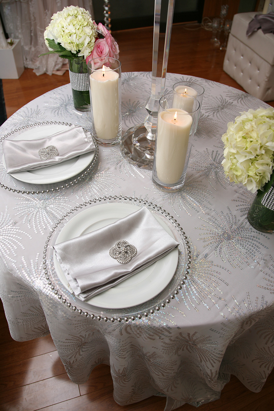 Rosette Overlay Table Cover Stardust