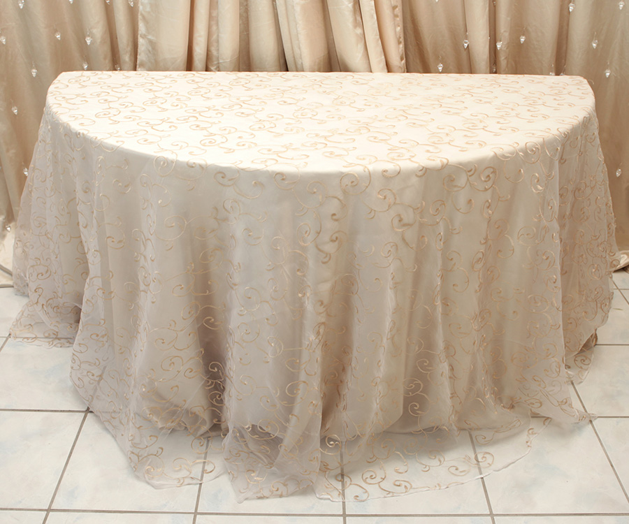 Swirl Overlay Table Cover Champagne