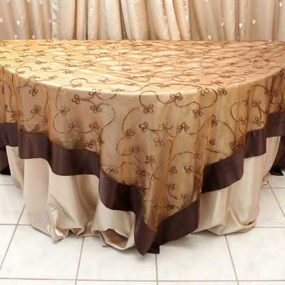 Swirl Overlay Table Cover Chocoloate with Gold