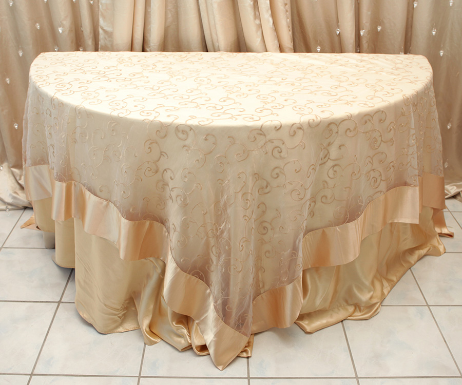 Swirl Overlay Table Cover Gold