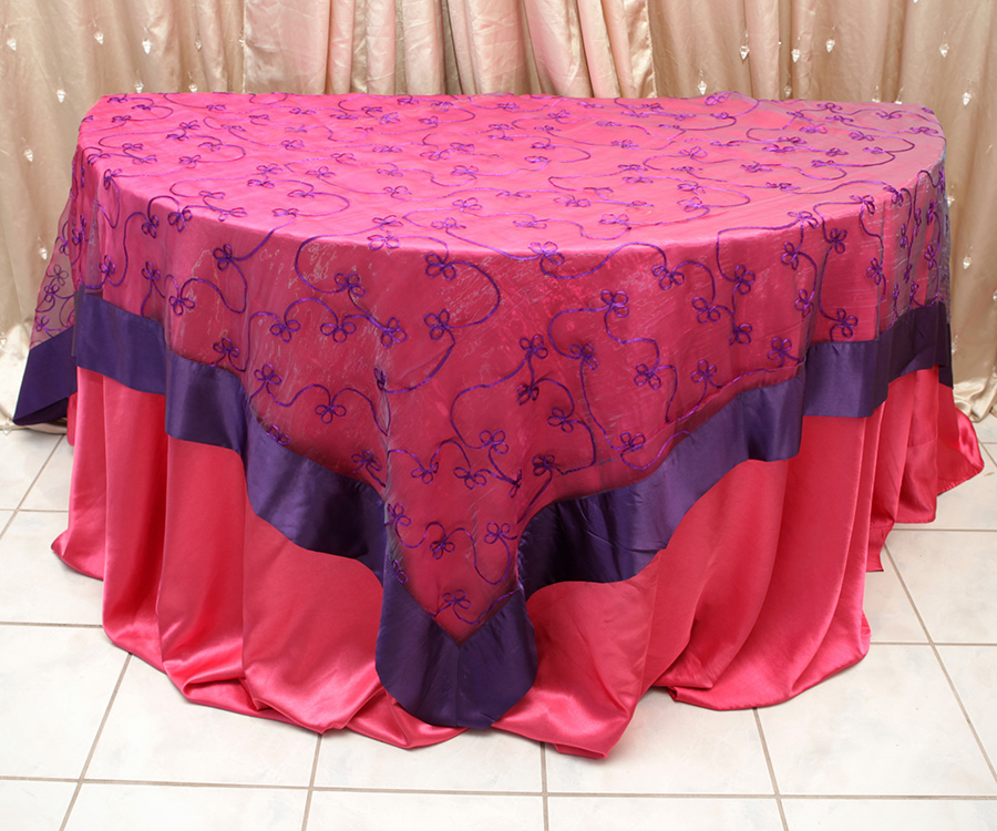 Swirl Overlay Table Cover Purple