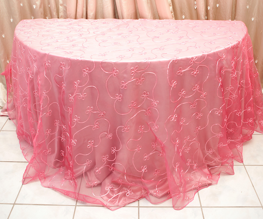 Swirl Overlay Table Cover Raspberry