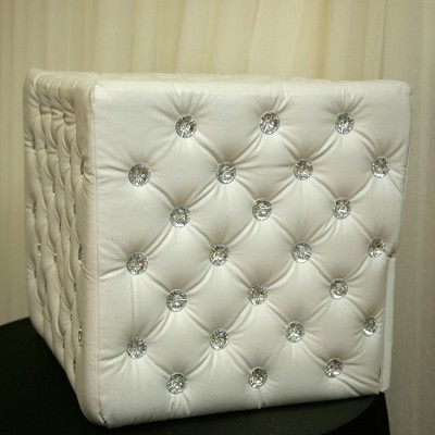 White Leather with Silver Rhinestones Moneybox